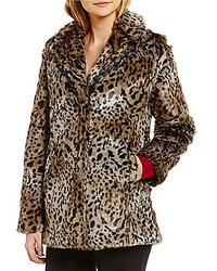 Sanctuary Kate Double Breasted Faux Fur Leopard Print Jacket