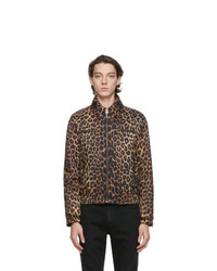 Saint Laurent Brown Fauve Leopard Bomber Jacket