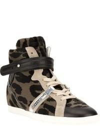 Barbara Bui Leopard Print Panel Sneaker