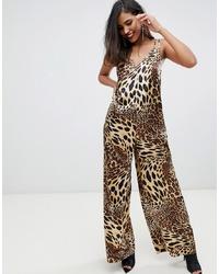 ASOS DESIGN Satin Cami Jumpsuit In Leopard