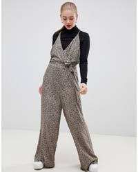 ASOS DESIGN Strappy Wrap Front Jumpsuit In Leopard Print
