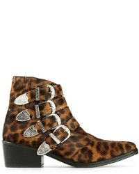 Brown Leopard Leather Ankle Boots