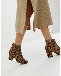 New Look Block Heel Boot In Cheetah Print