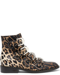 Studded ankle boots in leopard print leather leopard print medium 835166