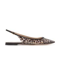 Gianvito Rossi Patent Med Leopard Print Pvc Slingback Point Toe Flats
