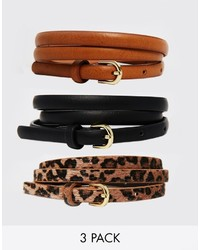 Asos Collection Leopard Hip And Waist Belt In 3 Pack