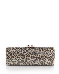 Jimmy Choo Charm Shimmery Leopard Print Suede Clutch