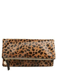 Clare v genuine calf hair leopard print foldover clutch beige medium 420676