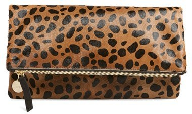 offer official price beautiful style $275, Clare Vivier Clare V Genuine Calf Hair Leopard Print Foldover Clutch