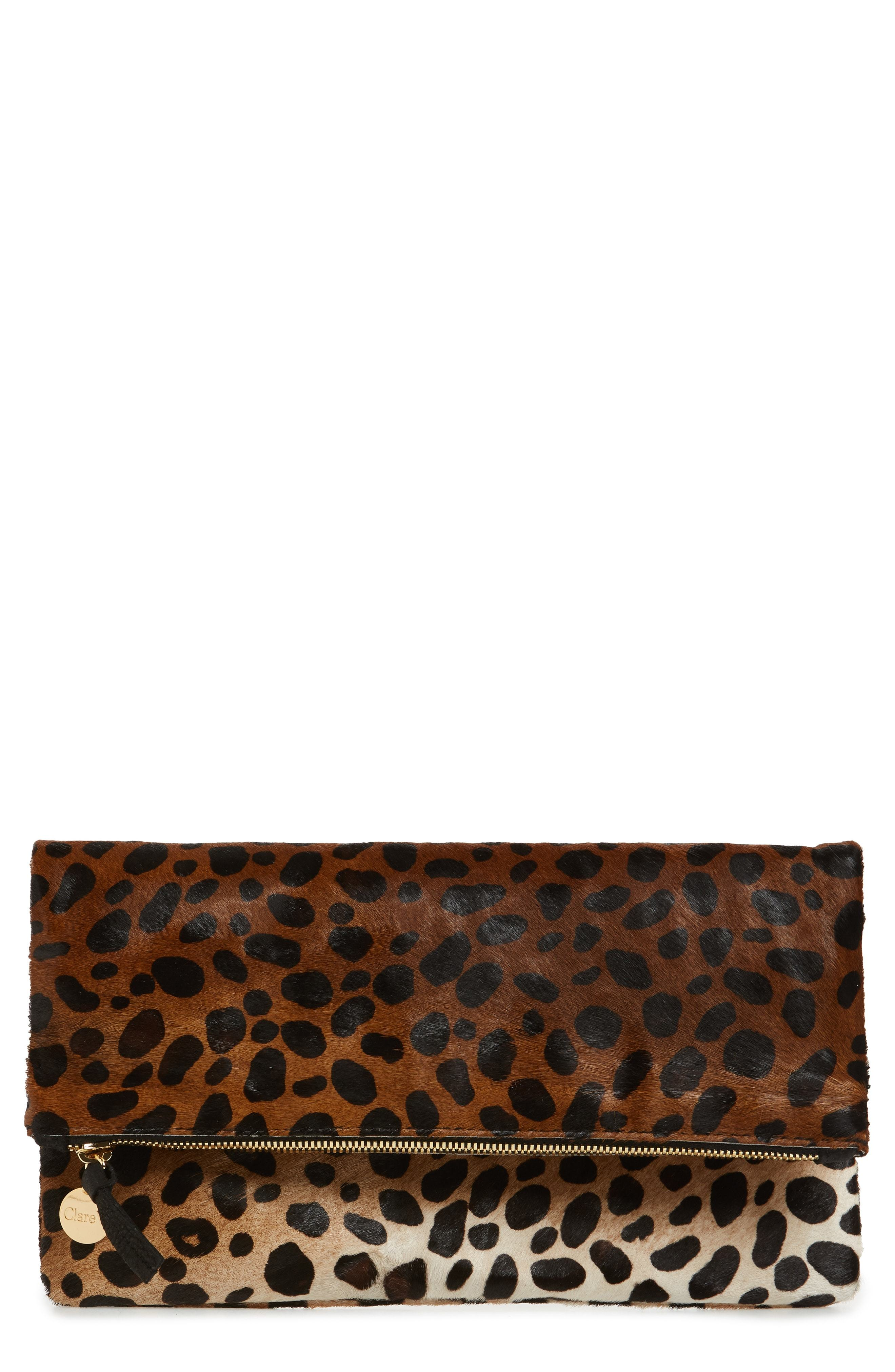 distinctive design new release authentic quality Genuine Calf Hair Leopard Print Foldover Clutch