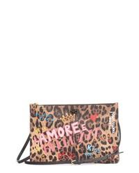 Dolce & Gabbana Graffiti Leopard Print Clutch