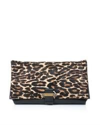 Lanvin Leopard Ponyhair Fold Over Clutch