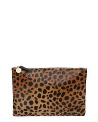 Clare V. Leopard Print Genuine Calf Hair Clutch
