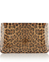 Loubiposh spiked leopard print patent leather clutch leopard print medium 420681