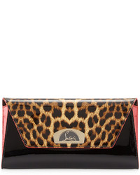 Vero dodat flap patent clutch bag leopardblack medium 420682