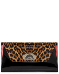 Christian Louboutin Vero Dodat Flap Patent Clutch Bag Leopardblack