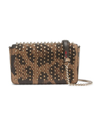 Christian Louboutin Zoompouch Spiked Leopard Print Leather Shoulder Bag