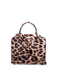 Mehry Mu Beige And Brown Fey Mini Leopard Print Box Bag