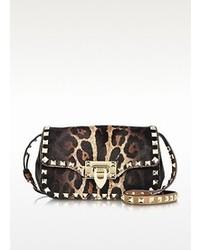 Rockstud leopard print haircalf crossbody bag medium 88991