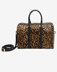 Brown Leopard Leather Duffle Bag