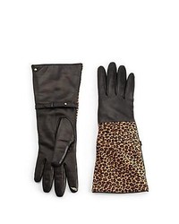 Diane von Furstenberg Leopard Calf Hair Leather Tech Gloves Leopard