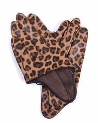 ChicNova Leather Half Palm Gloves With Leopard Details