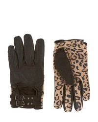 Maison scotch ms leather gloves leopard print medium 115632