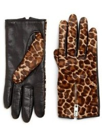 Rag and Bone Rag Bone Zippered Leopard Print Calf Hair Gloves