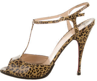 best website 7db7c 877f3 $290, Christian Louboutin Leopard T Strap Sandals