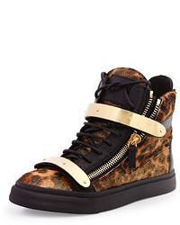 Calf hair high top sneaker leopard medium 55834
