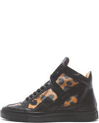 Mm6 by leather high top sneakers in black leopard medium 55833