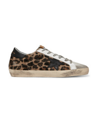 Golden Goose Deluxe Brand Distressed Leopard Print Calf Hair Leather And Suede Sneakers
