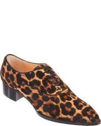 Brown Leopard Leather Oxford Shoes