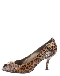 Leopard peep toe pumps medium 6698006