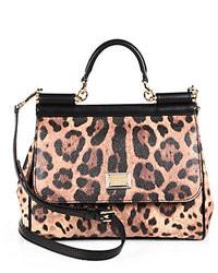 Brown Leopard Leather Satchel Bag
