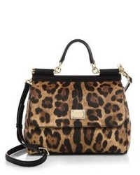 Dolce & Gabbana Medium Miss Sicily Leopard Print Top Handle Satchel