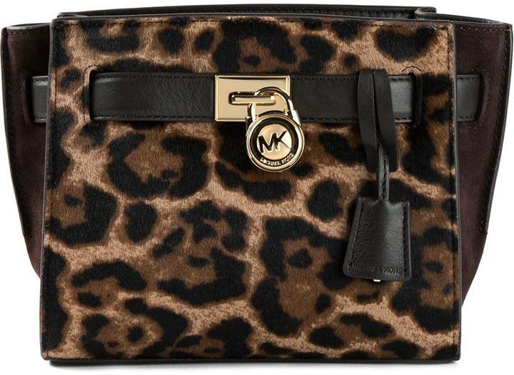 Michl Kors Hamilton Traveler Leopard Print Messenger Bag