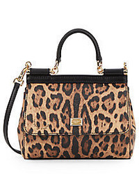Dolce & Gabbana Miss Sicily Leopard Print Leather Mini Satchel