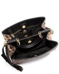 22b0a0303cb9 ... Dolce   Gabbana Sicily Medium Leopard Print Textured Leather Top Handle  Satchel