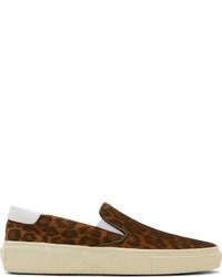 Saint Laurent Brown Leopard Print Slip On Sneakers