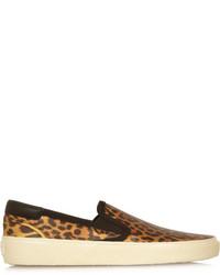 Saint Laurent Leopard Print Glossed Leather Slip On Sneakers