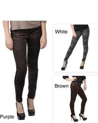 Journee Collection Juniors Stretchy Leopard Print Skinny Pants