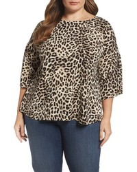 Vince Camuto Leopard Song Bell Sleeve Blouse