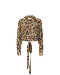 Brown Leopard Long Sleeve Blouse