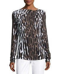 Collection draped leopard print long sleeve tee leopard medium 1149699