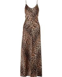 Ganni Blakely Leopard Print Stretch Silk Satin Maxi Dress
