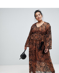 LOST INK PLUS Maxi Dress With In Leopard Print