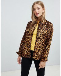 Daisy Street Trucker Shacket In Leopard Print Multi