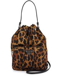 Prada Tessuto Mini Leopard Print Bucket Bag Tan