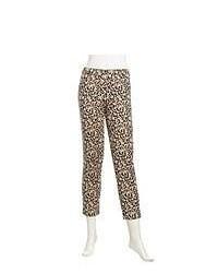 Joan Vass Leopard Print Cropped Knit Pants